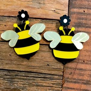 Bee Earrings Mirrored Wings Large. Any 2 for $25